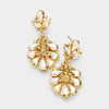 Little Girls Gold Crystal Cluster Teardrop Pageant Earrings | 402706