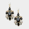 Black Floral Crystal Dangle Earrings | 390649