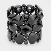 Wide Multi Shape Black Crystal Stone Stretch Pageant Bracelet | 398327