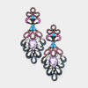 Elegant Multi Color Crystal Pageant Chandelier Earrings | 414579