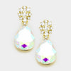 Little Girls AB Crystal Teardrop Earrings on Gold | 335505