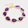 Purple Crystal Rhinestone Trim Teardrop Bracelet | 354287