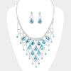 Aqua Crystal Rhinestone Teardrop Bib Necklace | 420990