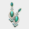 Victorian Emerald Crystal Double Oval Pageant Earrings | 414630