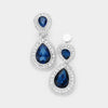Little Girls Navy Double Crystal Teardrop Clip On Earrings | 398727