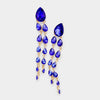 Sapphire Crystal Teardrop Link Pageant Evening Earrings | 401324