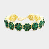 Small Emerald Crystal Flower Pageant Bracelet | 375232