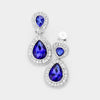 Little Girls Sapphire Double Crystal Teardrop Clip On Earrings | 398730