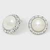 Austrian Crystal Pearl Round Stud Earrings | 0.8"