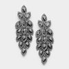 Long Black Diamond Crystal Marquise Earrings | 347048