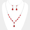 Red Crystal Teardrop Accented Rhinestone Prom Necklace | 419934