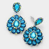 Large Teal Pageant Earrings | Clip On | 287448