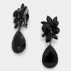 Floral Black Teardrop Earrings | Clip On | 291097