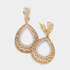 Rhinestones on Antique Gold Clip On Hoop Earrings Oval Cut Out | 364385