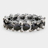 Black Teardrop Crystal Pageant Bracelet with Hematite Accent Stones | 412410