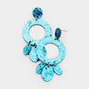 Aqua Glitter Hoop Felt Fun Fashion Pageant Earrings | 409719