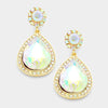 AB Crystal Teardrop Earrings on Gold | 335609