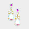 AB Crystal Teardrop Leaf Pageant Earrings on Gold | 379344