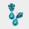 Small Teal Crystal Clip On Dangle Earrings | 415432