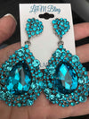 Chunky Aqua Pageant Earrings | NO AB | H202-7 NAB