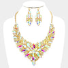 AB Crystal Leaf Cluster Flower Pageant Necklace Set on Gold | 370255