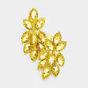 Yellow Crystal Rhinestone Oval Clusteru00a0Clip On Earrings | 418311