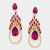 Fuchsia Crystal Teardrop Flame Earrings | 307678