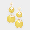 Mustard Yellow Double Thread Ball Metal Leaf Dangle Earrings | 421440