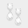Little Girls Crystal Rectangle and Teardrop Dangle Earrings | 358379