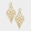 Very Large Crystal Flower Fringe Earrings on Gold | 368839