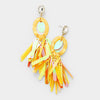 Yellow Oval Hoop Sequin Fringe Fun Fashion Pageant Earrings | 402261