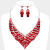 Red Crystal Cluster Vine Statement Evening and Pageant Necklace | 369174