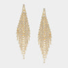 Long Crystal Rhinestone Fringe Pageant Prom Earrings on Gold | 303214