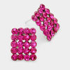 Fuchsia Rectangle Stud Earrings | Austrian Crystal | 70741