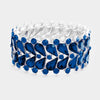 Navy Crystal Teardrop Cluster Stretch Bracelet | 381814