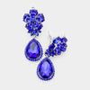Small Sapphire Crystal Clip On Dangle Earrings | 398736