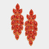 Long Red Crystal Marquise Earrings