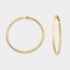 Smooth Gold Clip On Hoop Earrings | 1.75"