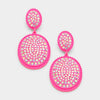 Hot Pink Fun Fashion Earrings with AB Stones | 355519