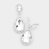 Crystal with Rhinestone Trim Clip On Earrings | 415350