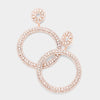 Large Rhinestone Crystal Pageant Prom Hoop Earrings on Rose Gold | 423951