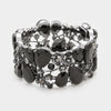 Black Crystal Vine Stretch Bracelet on Gun Metal | 334716