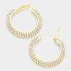 Small Crystal Hoop Earrings on Gold | 1.7"