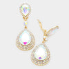 AB Crystal Teardrop Earrings | Clip On | 323893