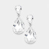 Little Girls Double Crystal Teardrop Evening Earrings | 316345