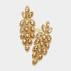 Large Gold Crystal Leaf Clip On Earrings | 395663