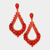 Oversized Cut Out Red Crystal Teardrop Earrings | 368847