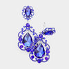 Elegant Sapphire Crystal Chandelier Clip On Pageant Prom Earrings | 415106