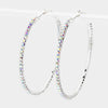 AB Crystal Rhinestone Hoop Earrings | 2.5"