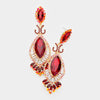 Victorian Red Crystal Double Oval Pageant Earrings | 414622